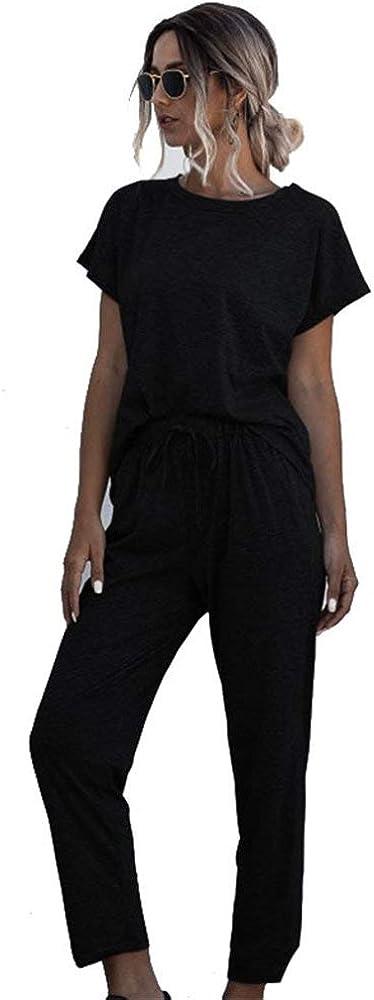 Femme Jogging Yoga Surv/êtement /Ét/é Costumes de Sport Casual Manche Courte Top T-Shirt et Pantalons Ensemble de Sportwear 2 Pi/èces avec Poches