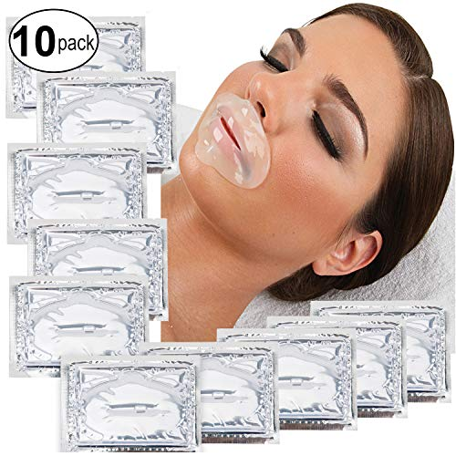 Set Kit of 10pcs Transparent Collagen Gel Crystal Masks Lips Patches Clear Mouth Sheets for Anti Aging Treatments, Fine Lines and Wrinkles Removal, Hydration, Nourishing and Skin Firming (Best Treatment For Wrinkles Above Lips)