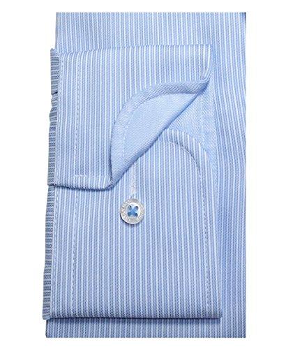 Casa Moda Modern Fit Premium Langarm Streifendessin hellblau