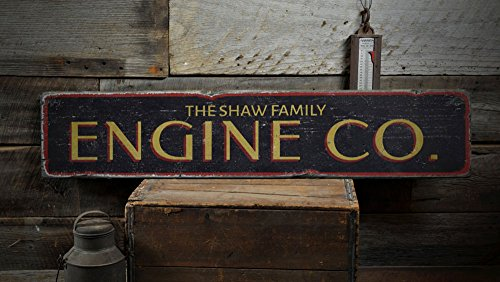 Fireman Wood Sign - The Lizton Sign Shop Engine Co. Wood Sign, Custom Family Name Fireman Man Cave Decor, Firefighter Station Gift - Rustic Hand Made Vintage Wooden Sign - 7.25 x 36 Inches