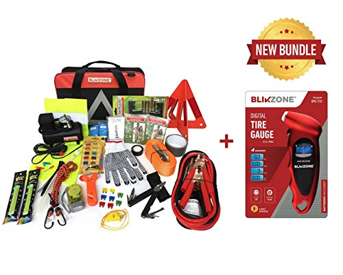 Blikzone Auto Roadside Assistance Car Kit Classic Bundled 82 Pc for Vehicle Emergency: Portable Air Compressor, Jumper Cables, Tire Repair Kit, Digital Tire Pressure Gauge to Travel to Drive Safely