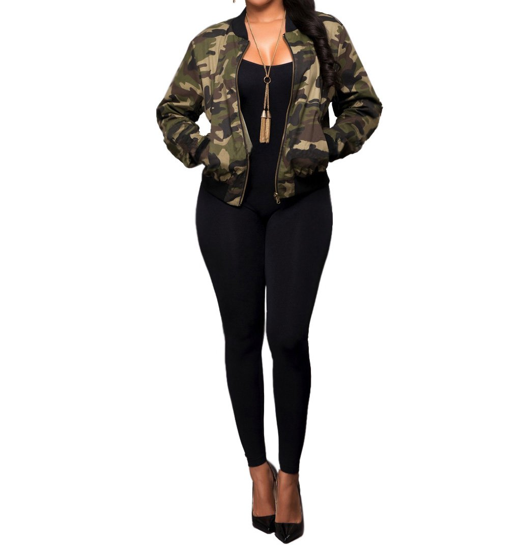 Sexycherry Faddish Military Casual Camouflage Lightweight Thin Short Jacket Coat For Women,Camouflage,Large by sexycherry (Image #2)