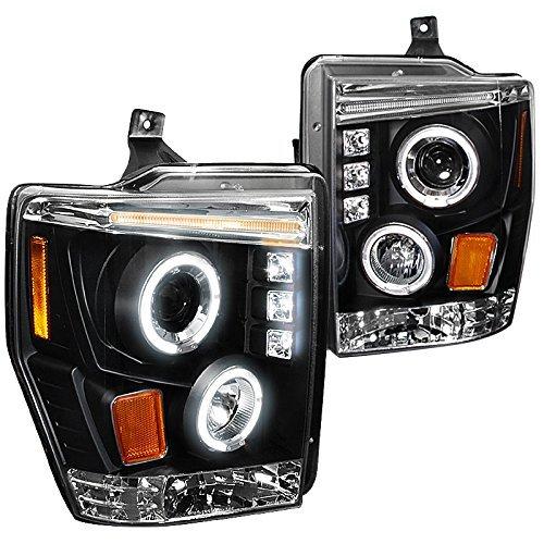 Spec-D Tuning 2LHP-F25008JM-TM Ford F250 F350 F450 Led Dual Halo Black Projector Head Lights -