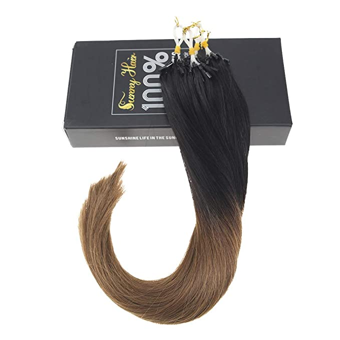 Sunny 22 Pulgadas 50g/pack Extensiones de Cabello Humano Micro Ring Remy Ombre Negro Natural a Marron Extension Pelo: Amazon.es: Belleza