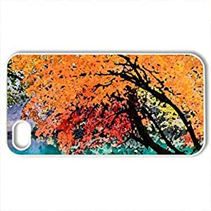 Autumn Lake, Juizhaigou National Park - Case Cover for iPhone 4 and 4s (Lakes Series, Watercolor style, White)