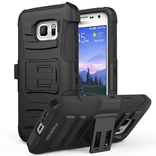 Galaxy S7 Active Case, MoKo Shock Absorbing Hard Cover Ultra Protective Heavy Duty Case with Holster Belt Clip + Built-in Kickstand for Samsung Galaxy S7 Active 5.1 Inch - Black