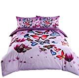 Alicemall 3D Purple Bedding Beautiful Butterflies and Purple Flower Bedding Sheets set, 4 Pieces Soft and Breathable Duvet Cover Set, Full Size Girls Bedding (Full, Purple)