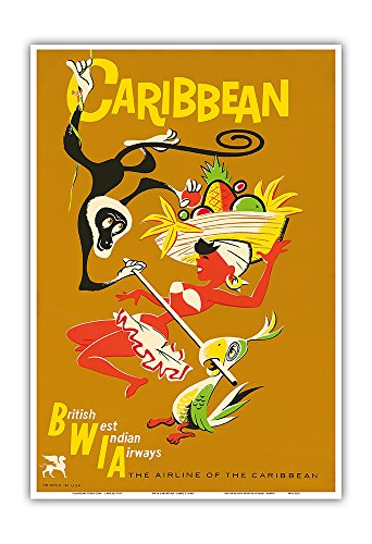 Caribbean   British West India Airways Bwia  Bee Wee    Limbo Dancer   Vintage Airline Travel Poster C 1950S   Master Art Print   13In X 19In