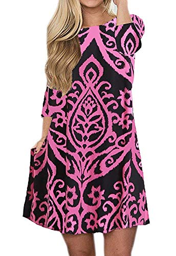 - Silvous Women's Floral Dress Tshirt Dress 3/4 Sleeve Swing Tunic Dress with Pockets (Rose S)