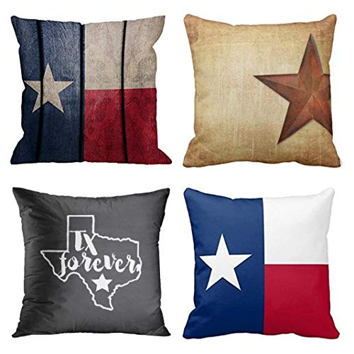 ow Pillow Covers Texas Flag Flagn Vintage Wood Rustic Barn Star Western Forever Decorative Pillow Cases Home Decor Square 16x16 Inches Pillowcases ()