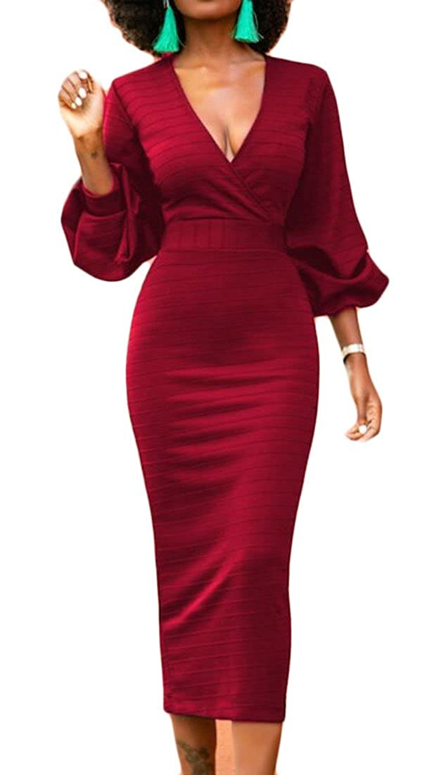 YYear Womens Fashion Solid Color Long Sleeve Party Bodycon Evening Prom Dress
