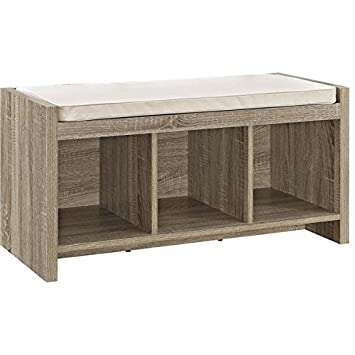 Awesome Avenue Greene Furniture Sonoma Oak Entryway Storage Bench With Beige  Cushion, 3) Open Cubbies