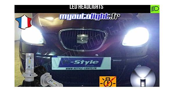 Lote de faros para Seat León 2, LED, H7, alto rendimiento: Amazon.es: Coche y moto