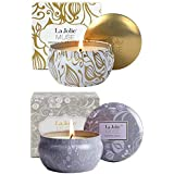 La Jolíe Muse Pack de 2VelasperfumadasCeradeSojaNatural,VainillaCoco &LotoAzul,aromaterapiaAnti-estrés.VeladeViaje 45x2 Horas