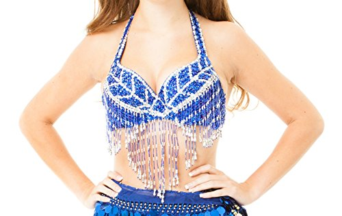 Turkish Belly Dancing Costumes - Blue Sequined Belly Dance Bra Top Beaded Fringe Belly Dancing Costume Outfit Accessories