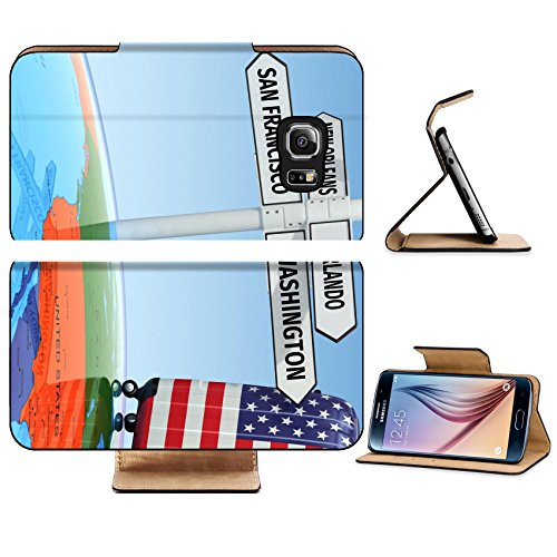 Luxlady Premium Samsung Galaxy S6 Edge Flip Pu Leather Wallet Case IMAGE 36429263 Travel concept Suitcases and signpost what to visit in USA - Premium Vegas Las North