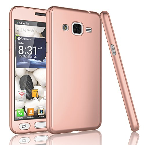 Tekcoo For Galaxy Sky/J3/J3 V/Sol Case, Tekcoo [T360 HY] Full Body Coverage Protection Hard Cover Shell&Tempered Glass Screen Protector For Samsung Galaxy Amp Prime/Express Prime [Rose Gold]