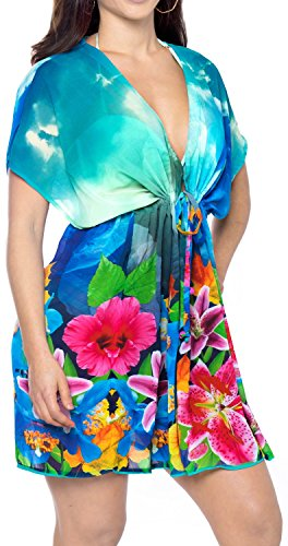 Women Lightweight Chiffon Designer Beach Swimsuit Cover Up Swimwear Caftan Blue Valentines Day Gifts 2017