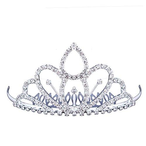 [Stuffwholesale Mini Tiara Hair Comb Rhinestone Crystals Flower Girl Princess Crown Headwear (#12)] (Princess Birthday Girl Tiara)