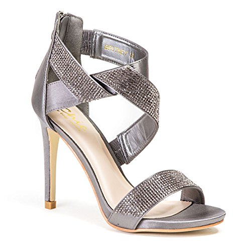 LADY COUTURE WOMEN'S TWISTED RHINESTONE STRAP HIGH HEEL SANDAL, BRITNEY  PEWTER 37 - Pewter High Heels: Amazon.com