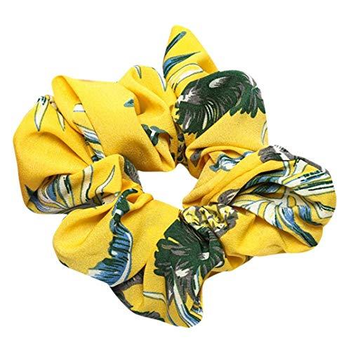 Floral Hair Scrunchies,Ximandi Bun Ring Elastic Sports Delicate Drop Dance Scrunchie (Yellow, Adjustable)