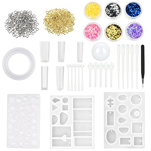 TecUnite Set of 132 Resin Silicone Casting Molds and Tools, Including Silicone Molds Tweezers Glitter Powder Stirrers Droppers Spoons Screw Eye Pins for DIY Jewelry Making