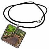 3dRose Danita Delimont - Paths - Oregon, Willamette National Forest Footbridge path - US38 BJA0576 - Jaynes Gallery - Necklace With Rectangle Pendant (ncl_93632_1)