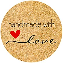 "1.5"" Round Kraft Paper Handmade with Love Stickers Bakery Labels 800 per Roll"