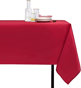 N/N Rectangle Tablecloth Spill Proof Stain Resistant and Wrinkle Free Christmas Table Cloths Washable Polyester Table Cover for Xmas Dinner/Dining/Parties (60x120 inch, Red)
