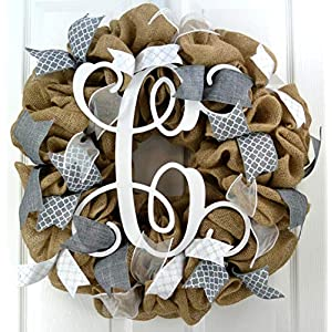 Burlap Chevron Vine Monogram Door Wreath Handmade - grey white 53