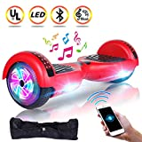 UNI-SUN 6.5'' Hoverboard for Kids, Two Wheel Electric Scooter, Self Balancing Hoverboard with Bluetooth and LED Lights for Adults, UL 2272 Certified Hover Board(Ultimate Red)