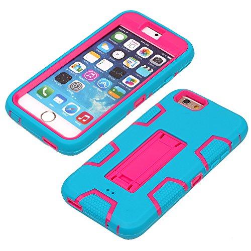 iPhone 6 6S Hülle , Heavy Duty Kickstand Rose Blau PU Harte Rüstung Tasche Schutzhülle Shockproof Handyhülle Stoßdämpfende Schale Fall Case Shell Halter für Apple iPhone 6 6S