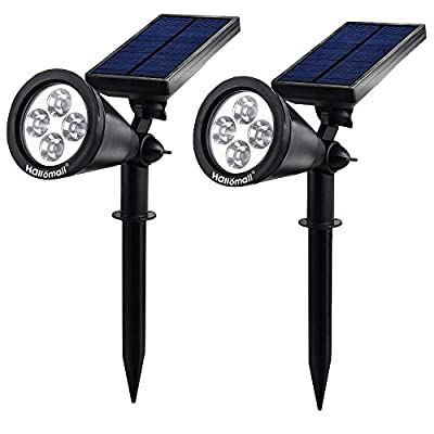 {New Version 2 Modes} 200 Lumens Solar Wall Lights / In-ground Lights, 180°angle Adjustable and Waterproof 4 LED Solar Outdoor Lighting, Spotlights, Security Lighting, Path Lights (TD-604, 2 Pack)