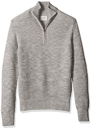 Billy Reid Men's Cashmere Half Zip Pullover Sweater, Charcoal, (Cashmere Half Zip Sweater)