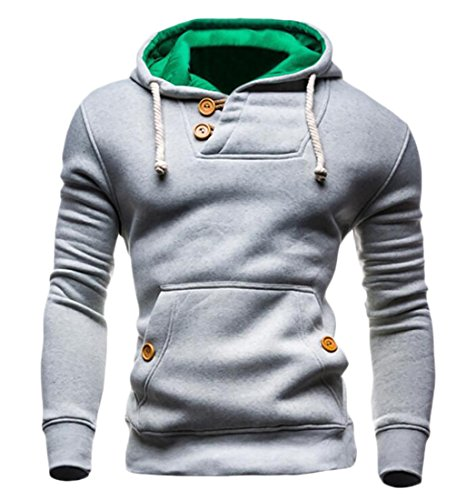 GAGA Mens Long Sleeve Active Slim Fit Zip-Up Hoodie Sweatshirts