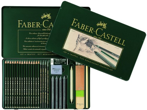 Graphite Set Metal Tin of 29 PITT 29 Assorted pieces Set by Faber-Castell