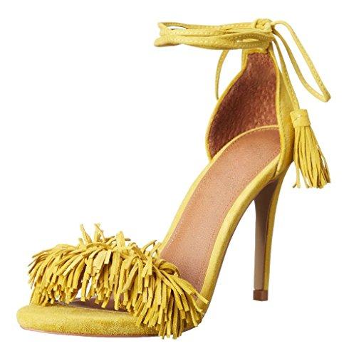 Zapatos amarillos formales Kolnoo para mujer bpIIH