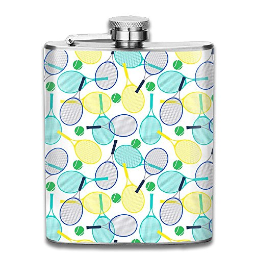 WEFLASKY Stainless Steel Flask Tennis Rackets And Balls Wine Bottle With Lid Leak Proof 7 Ounce -