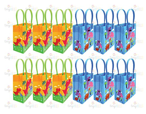 Dinosaurs Party Favor Bags Treat Bags, 12 Pack by TINYMILLS