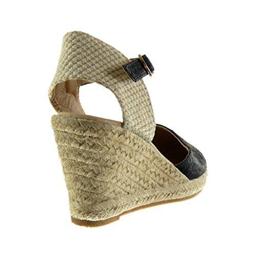 Talón Bordado Sandalias 5 Cuerda Moda Abierto Zapatillas Plataforma cm Angkorly Brillantes Negro 9 Mujer Alpargatas WYZqxFZwzn
