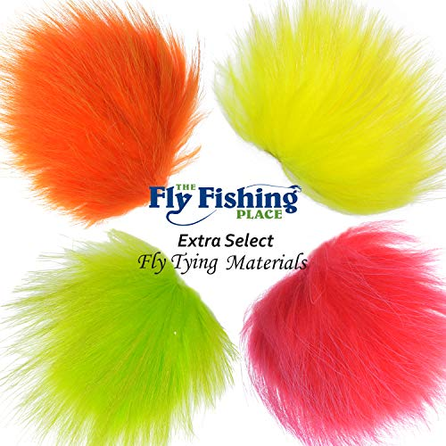 The Fly Fishing Place Fly Tying Materials - Finn Raccoon Fur Master Pack - 4 Fluorescent Colors - Red Yellow Fire Orange Chartreuse Tube Fly Streamer Hair