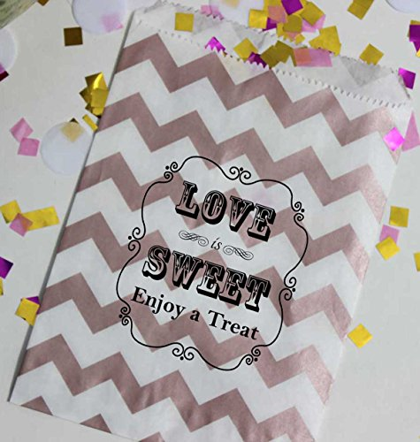 Bakers Bling Wedding Party Favor Bags with Stickers, Rose Gold and White Chevron Stripe Love is Sweet Enjoy a Treat Candy Bags, 5.5 x 7.5, Set of 48 Bags and ()