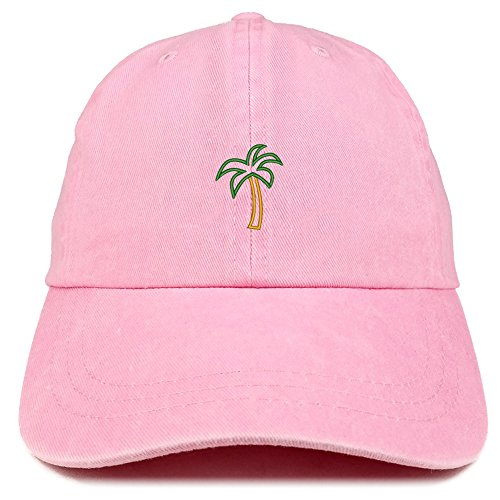 Trendy Apparel Shop Palm Tree Embroidered Washed Cotton Adjustable Cap - Pink