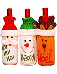 Christmas Wine Bottle Cover Holiday Wine Bottle Decoration for Home Party Santa Snowman Reindeer Wine Bottle Clothes 3Pcs