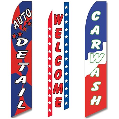 3 Swooper Flags Welcome Car Wash Red Blue & White Auto De...