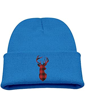Buffalo Plaid Deer Kid's Hats Winter Funny Soft Knit Beanie Cap, Unisex