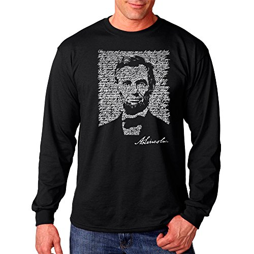 LA POP ART Men's Long Sleeve Word Art T-Shirt- Abraham Lincoln - Gettysburg Address Black (Abraham Lincoln Log Cabin Replica)