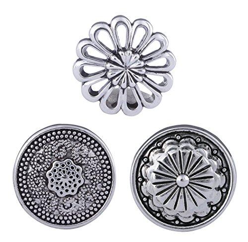 Morella click-button Lot de 3boutons pression pour bijou Motif fleur métallique