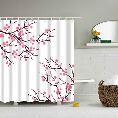Messagee New Peach Blossom Mildew Resistant Fabric Shower Curtain Waterproof/Water-Repellent 72
