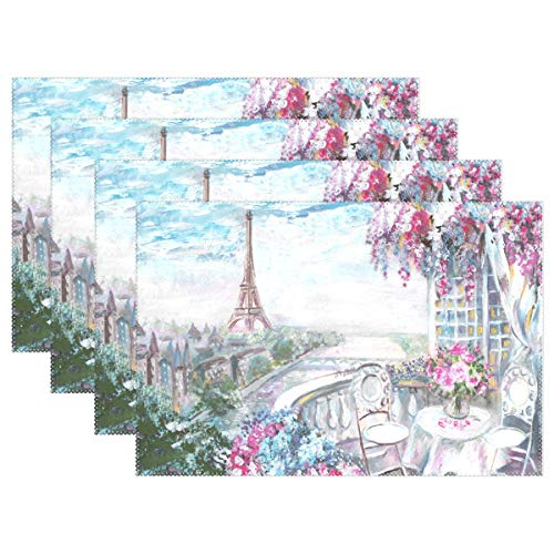 WOOR Oil Painting Summer Cafe Paris Placemats for Dining Table Heat Resistant Kitchen Table Decor Washable Table Mats 1 Piece